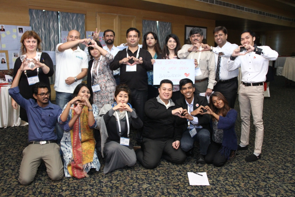 TechCamp Hyderabad participants from South and Southeast Asia after building out region-specific solutions to support the #NoHateSpeech Movement