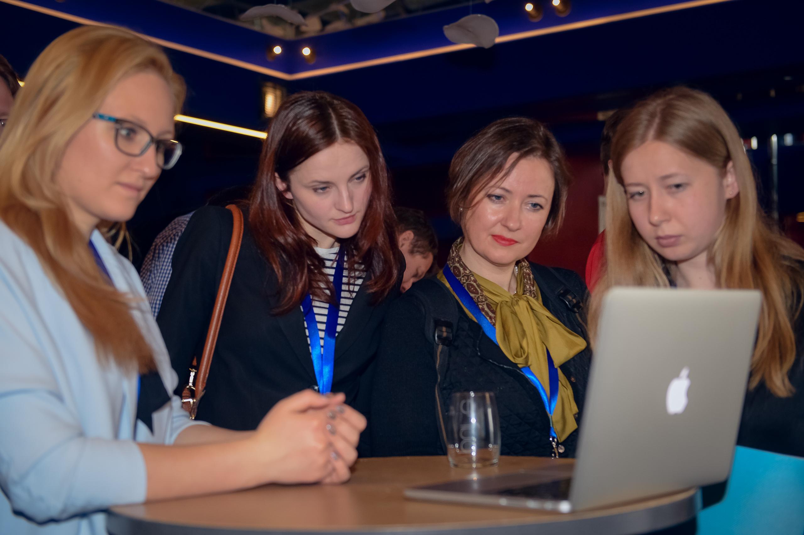 Participants at TechCamp Riga explore new digital tools for investigative journalism.