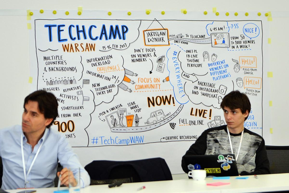 TechCamp participants focused in during a training session