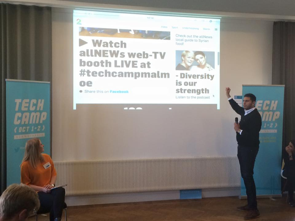 Participants present the idea behind 'allNEWs,' a media channel geared toward minorities in Scandinavia