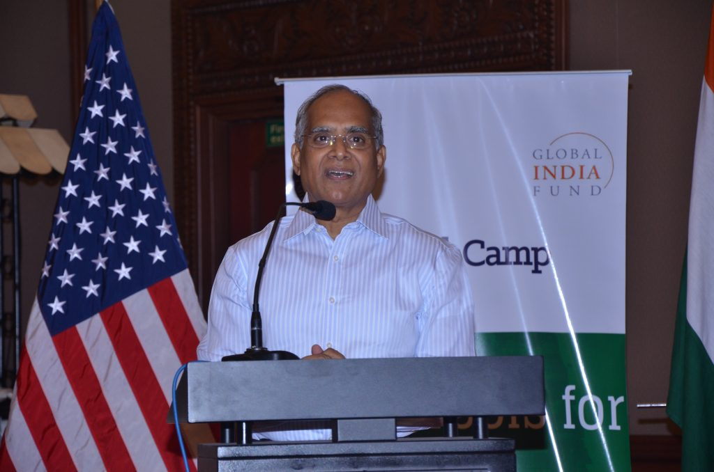 Mr. Lakshmi Narayanan, Co-founder of Cognizant Technology Solutions, addresses participants at TechCamp Chennai.