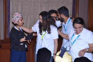 The winning team celebrates their victory in the TechCamp Chennai pitch competition.