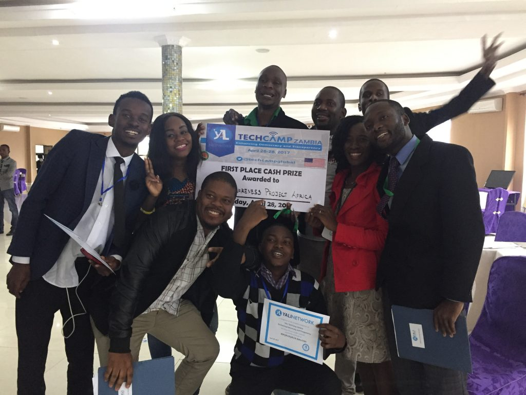 YAPA project members after winning the pitch competition at TechCamp Zambia